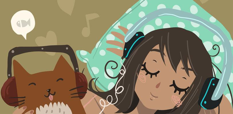 girl & cat listening to audiobooks